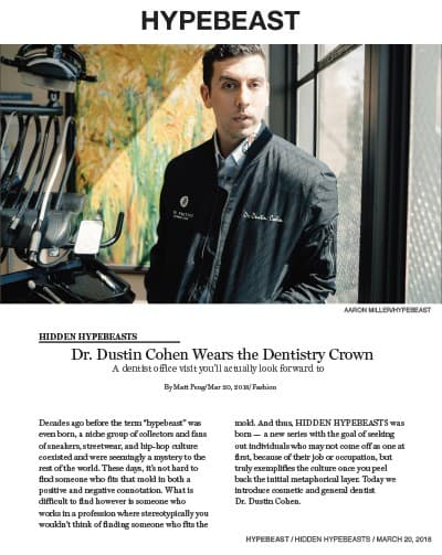 Hypebeast feature of Dr. Dustin Cohen
